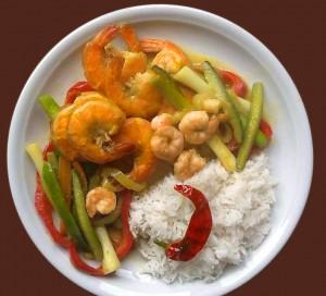 Gambas Curry Garam mit Kokosmark