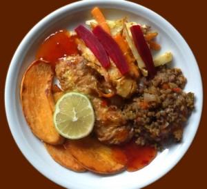 asiatisch vegan mit Wurzelgemüsen, Linsen und Tofu
