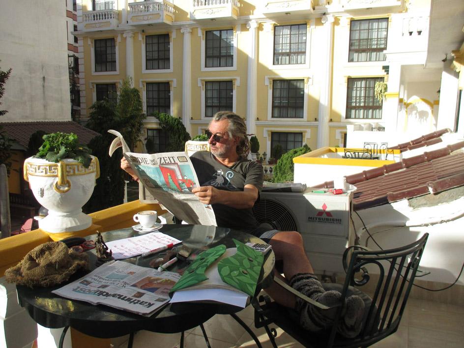 Rolf Schmelzer im Kathmandu Guest House im Ortsteil Thamel