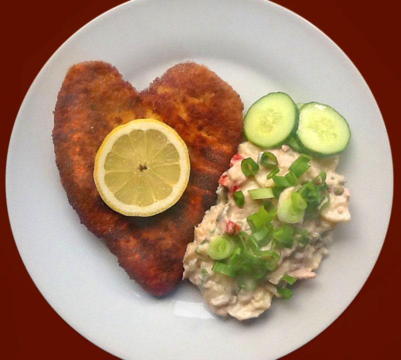 Schnitzel vorher in Herzform parieren