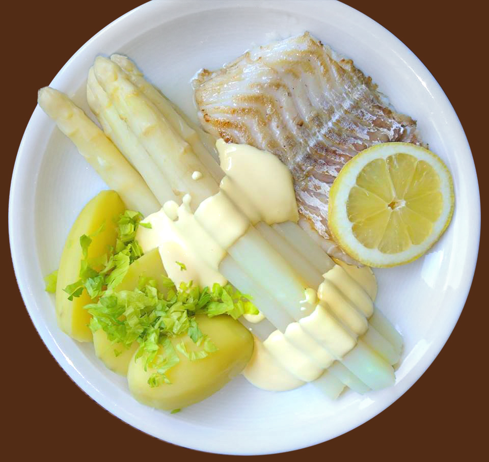 Ton-in-Ton, Spargel mit hellem gedünstetem Fisch