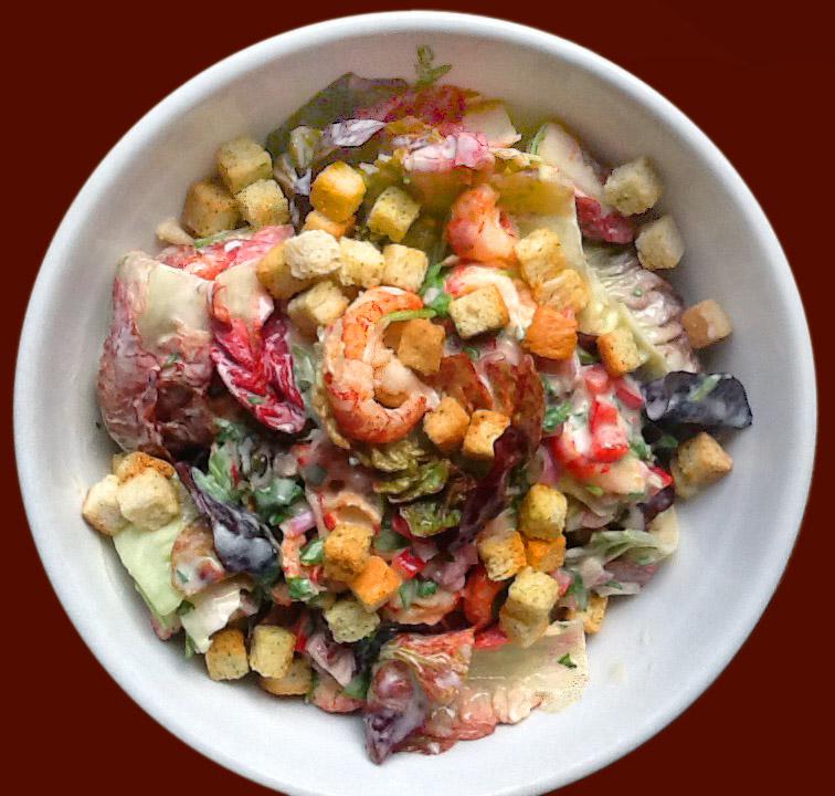 Salat mit Flusskrebse