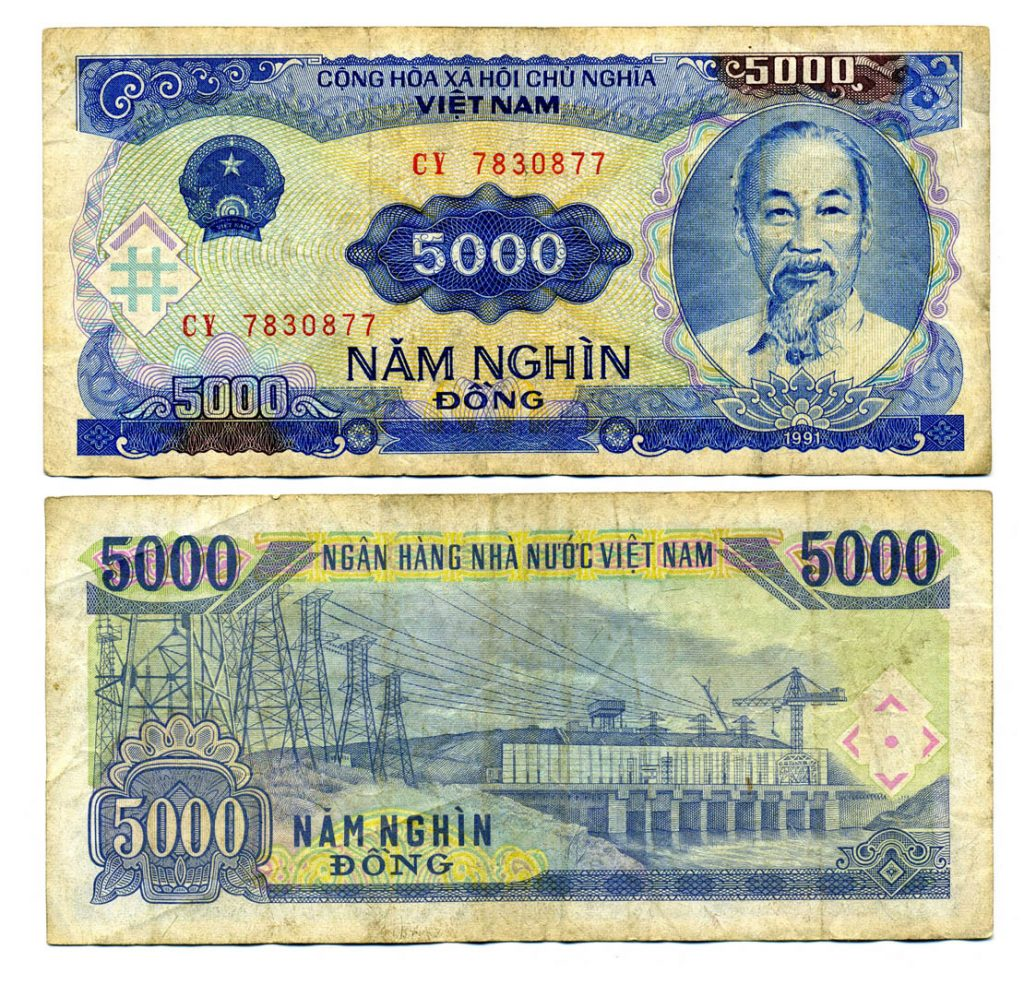 5000 Dong Banknote mit Ho Chi Minh